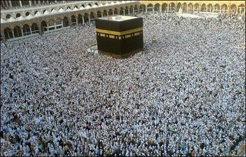 The crowd during the regular Hajj can swell to as many as 750,000 pilgrims in one place. Here they circle the Ka'ba.
