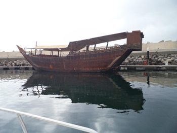 A lowly Dhow on the Persian Gulf.