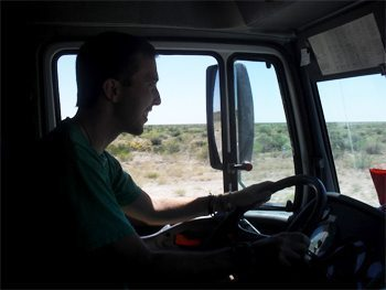 Driving the mail truck down the longest straightaway road in the world.