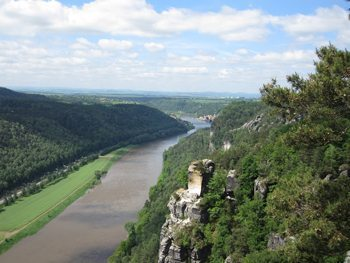 The Elbe River seen from the Bastei.