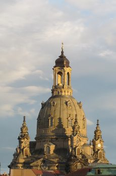 The famous Frauenkirche dome in Dresden, Germany.