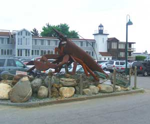 The world's largest lobster, in front of the Samoset Resort