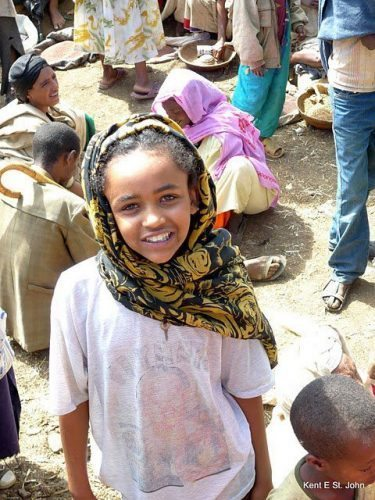 A girl at the market in Lalibela