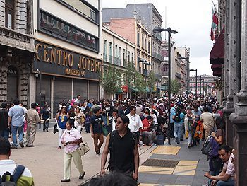 Mexico City is a pedestrian friendly city, with many streets no longer open to cars, such as this one near the Zocolo, the city's main square.