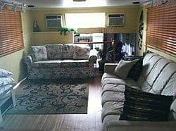 The comfy and cozy interior of the Tobbiedee houseboat.