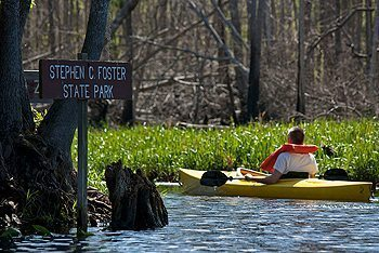 Kayaking in Stephen Foster State Park, Georgia.