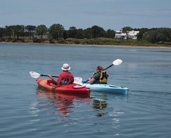 Kayaking at Sengekontacket pond in Oak Bluffs.