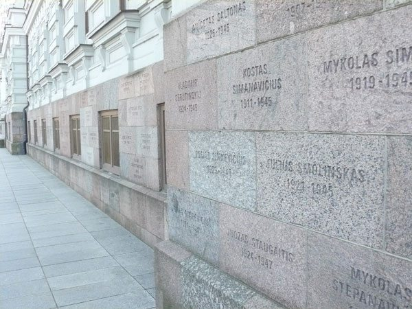 The names of 1300 Lithanians murdered by the KGB are inscribed on the stones of the Museum of Genocide Victims in Vilnius, which has many moving exhibits about the torture, murder and deportation of Lithuanians. Unfortunately, photography is not allowed inside the Museum.