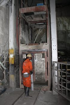 The lift down into the gold mine.