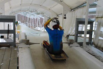 Taking off on the luge run.