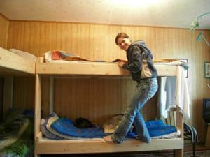 Maria in her bunk in the Solovetsky Islands of Russia.