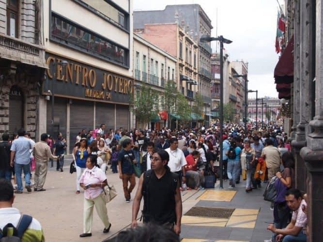 Mexico City's historic district near the giant city square, the Zoccolo.