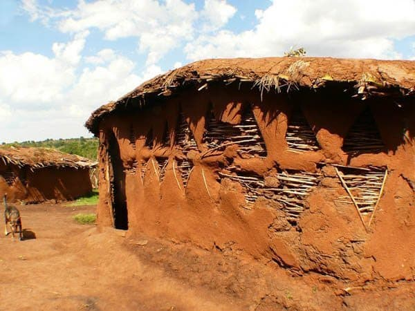 A mud hut in a Maasai village.