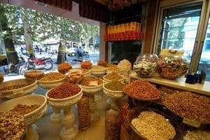 Nuts and spices for sale in Tehran.
