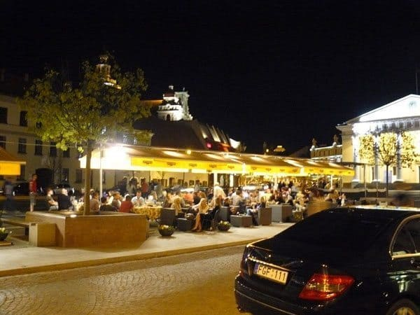 In the evening the city becomes one big outdoor cafe.