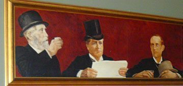 A mural by Herndon Davis at the Oxford Hotel in Denver. In the center is Denver Tribune Editor Eugene Field, who wrote 'Wynken, Blynken and Nod.'