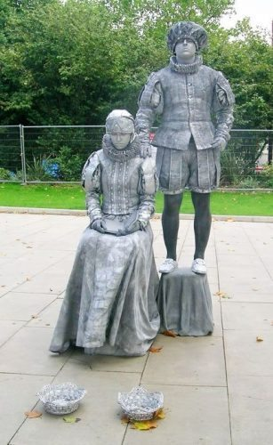 Living statues on the Thames Riverwalk in London, England
