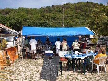 Pigeon Beach snack shacks await the hungry racing fans on Antiqua.