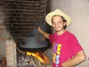 Pollo Disco, a local chicken dish, prepared under a wood fire.
