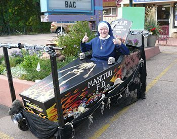 Sister Mary Stephen of Watervliet, New York, in a racing coffin in Manitou Springs, Colorado