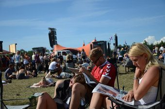 Relaxing at Roskilde Music Festival in Denmark.