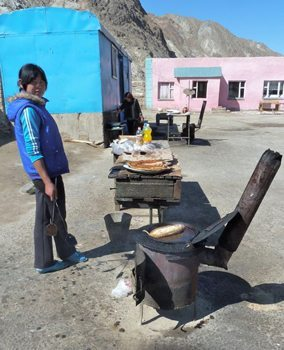 Roadside fish fry in the village of Naryn, Kyrgyzstan.