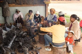 Families sculpt high quality products from battered oil drums. photo by Chris Beynon.