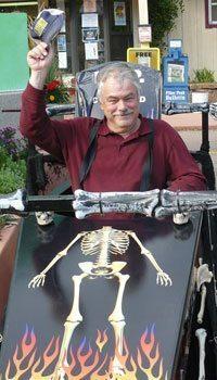 Stephen Hartshorne in a racing coffin in Manitou Springs, Colorado