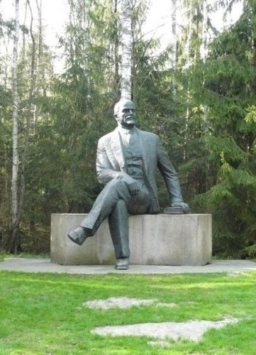A rare seated Lenin. Usually he was shown standing up.