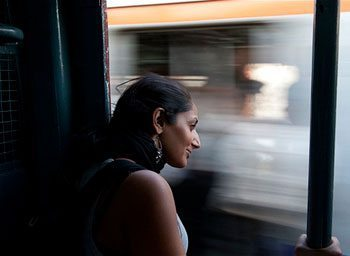 Monisha Rajesh aboard one of the 80 trains she took through India.