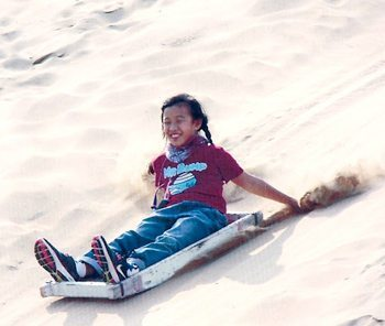 Surfing the sand in Xiang Sha Wan Desert, Inner Mongolia. photos by Sharon Lim.