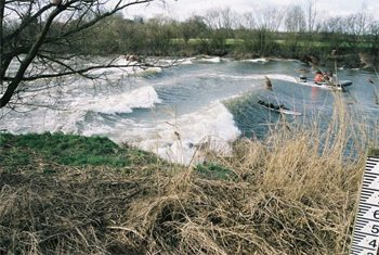 Surfing the Severn Bore, in Gloucestershire, England. photo Wikipedia.