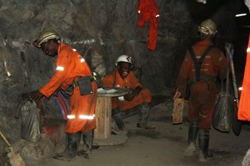 A tea break in the mine.