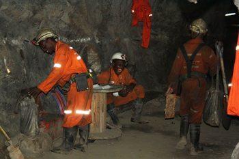 A tea break in the mine.