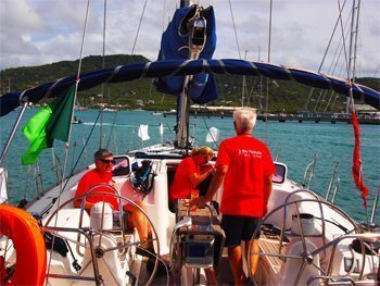 Under way during the regatta in Antigua.