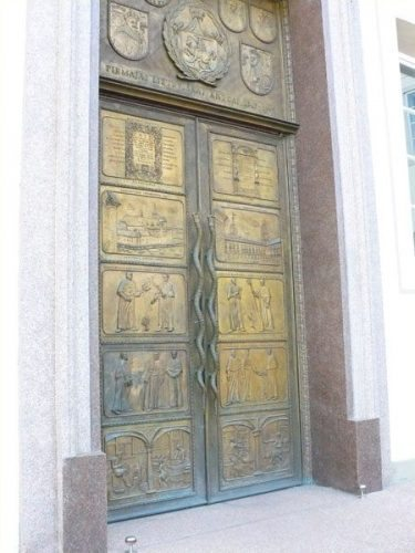 A door with scenes from the history of Vilnius University, one of the oldest in Europe
