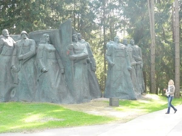 This sculpture of workers and fighters weighs 110 tons. At right is our guide, Asta Balciunaite.