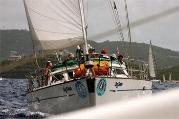 A yacht coming hard at the author during Antigua's Race Week. Photos by Kent E. St. John.