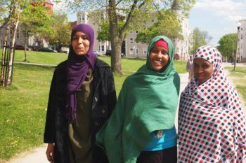 Somali girls in a park in Lewiston, Maine. photos by Max Hartshorne