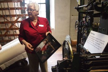 Rachel from the LA Museum shows us the machine her father once worked on in Lewiston Maine.