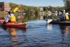 Mayor John Labonte kayaking the Androscoggin River in Auburn.