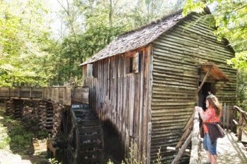 A working mill produces cornmeal for tourist in the Great Smoky Mountains National Park, in Eastern Tennessee. Max Hartshorne photos.