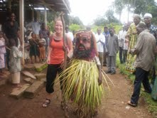 Volunteer Samantha Meysenburg with locals in Ofriktipabi, Cameroon.