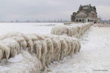 The frozen Black Sea, in Romania.