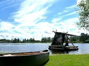 Travelers can either take a canoe or timber raft tour along the Klaralven River in Sweden.