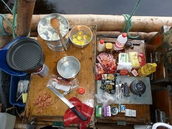 Gemma and Russell cooked small meals right on the raft.