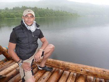 Russell on the foggy Klaralven River.