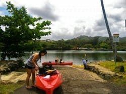 Getting set to kayak the Wailua river