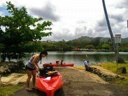 Getting set to kayak the Wailua river