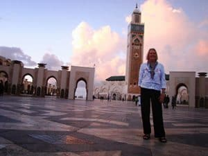 Sights and Soul traveler Delora Ward in front of the Hassan II Mosque